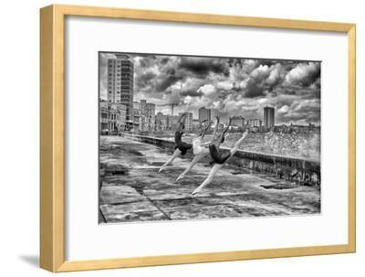 Ballerinas from the National Ballet of Cuba Dance on Havana's Malecon-Kike Calvo-Framed Photographic Print