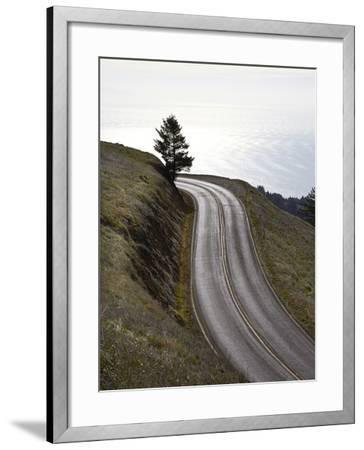 A Road in Mount Tamalpais State Park with a View of the Pacific Ocean in the Distance-Keith Barraclough-Framed Photographic Print