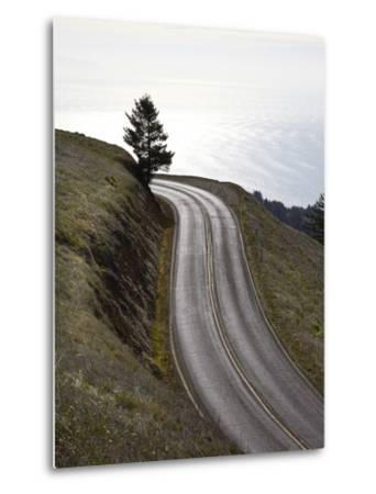 A Road in Mount Tamalpais State Park with a View of the Pacific Ocean in the Distance-Keith Barraclough-Metal Print