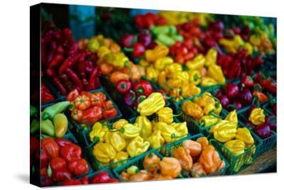 Colorful Peppers for Sale at a Farmers' Market-Kike Calvo-Stretched Canvas Print