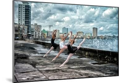 Ballerinas from the National Ballet of Cuba Dance on Havana's Malecon-Kike Calvo-Mounted Premium Photographic Print