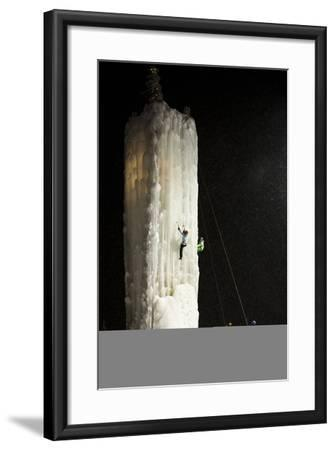 Two People Ice Climb a Tower at the Big White Ski Resort-Michael Hanson-Framed Photographic Print