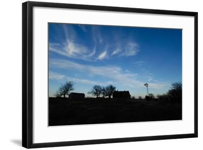 Silhouette of Barns and a Windmill Against Blue Sky-Michael Forsberg-Framed Photographic Print