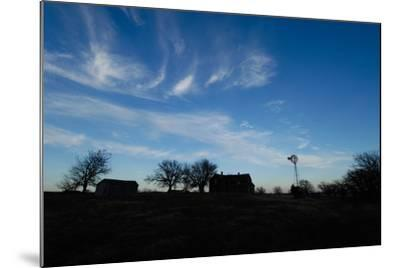 Silhouette of Barns and a Windmill Against Blue Sky-Michael Forsberg-Mounted Photographic Print
