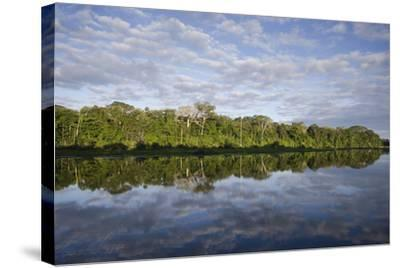Clouds and Forested Coastline Reflected in Calm Water-Bertie Gregory-Stretched Canvas Print