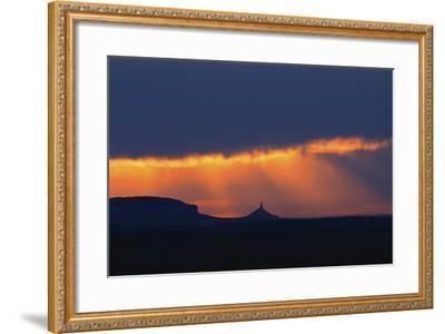 A Thunderstorm Rolls in over Chimney Rock-Michael Forsberg-Framed Photographic Print