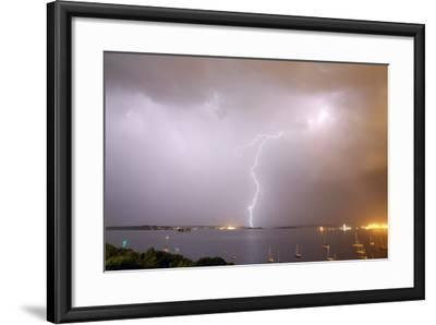 Lightning Strikes over Casco Bay-Robbie George-Framed Photographic Print