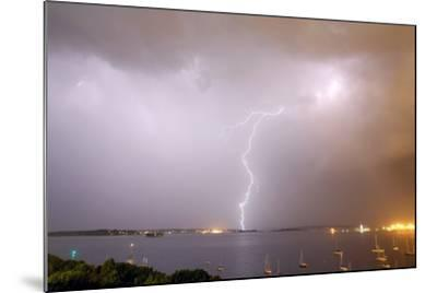 Lightning Strikes over Casco Bay-Robbie George-Mounted Photographic Print