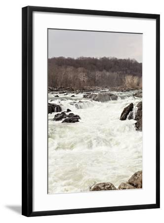 The Fast Moving Waters of the Potomac River Cascade over Boulders-Hannele Lahti-Framed Photographic Print
