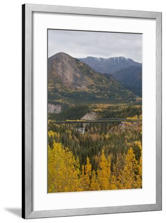 A Train Travels across a Bridge in the Fall in Alaska-Barrett Hedges-Framed Photographic Print