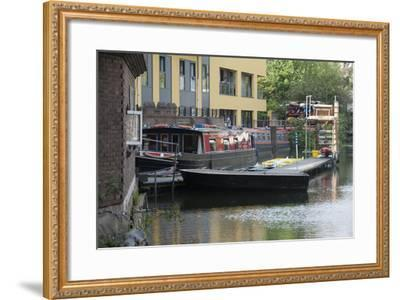 Canal Boats Along Regents Canal in London, England-Jeff Mauritzen-Framed Photographic Print