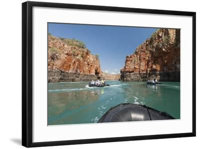 Tourists on Zodiacs Explore the Extreme Tidal Fluctuations at Horizontal Waterfalls in Talbot Bay-Jeff Mauritzen-Framed Photographic Print