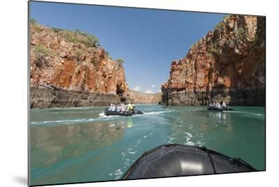 Tourists on Zodiacs Explore the Extreme Tidal Fluctuations at Horizontal Waterfalls in Talbot Bay-Jeff Mauritzen-Mounted Photographic Print