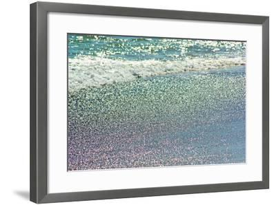 Atlantic Ocean Surf Surging onto a Beach. Sunlight Creates a Rainbow of Colors in the Wet Sand-Donna O'Meara-Framed Photographic Print