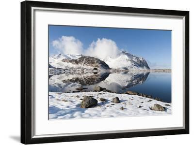 Mountains Reflect into the Calm Water of a Lake-Sergio Pitamitz-Framed Photographic Print