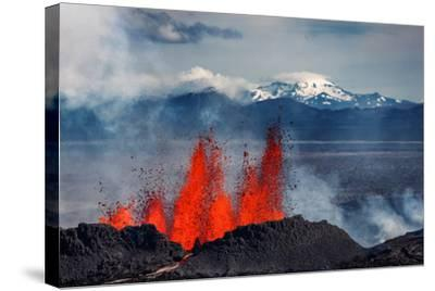 Volcano Eruption at the Holuhraun Fissure Near Bardarbunga Volcano, Iceland--Stretched Canvas Print