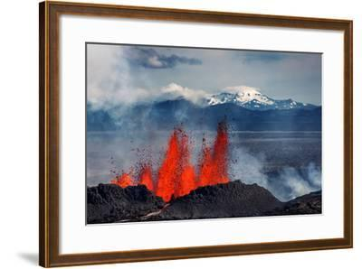 Volcano Eruption at the Holuhraun Fissure Near Bardarbunga Volcano, Iceland--Framed Photographic Print