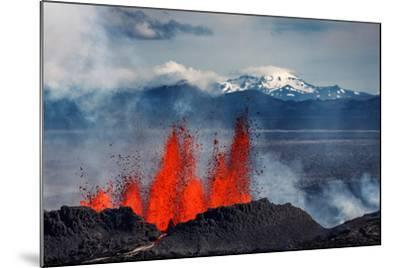 Volcano Eruption at the Holuhraun Fissure Near Bardarbunga Volcano, Iceland--Mounted Photographic Print