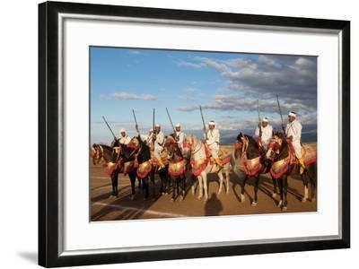 Berber Horsemen Lined Up for a Fantasia, Dades Valley, Morocco--Framed Photographic Print