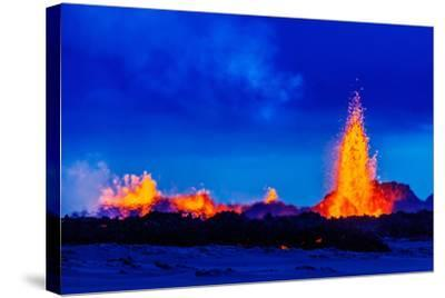 Lava Fountains at the Holuhraun Fissure Eruption Near Bardarbunga Volcano, Iceland--Stretched Canvas Print