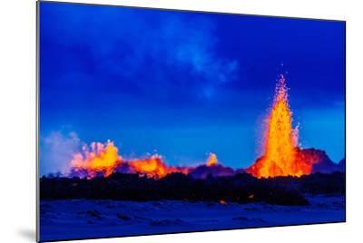Lava Fountains at the Holuhraun Fissure Eruption Near Bardarbunga Volcano, Iceland--Mounted Photographic Print