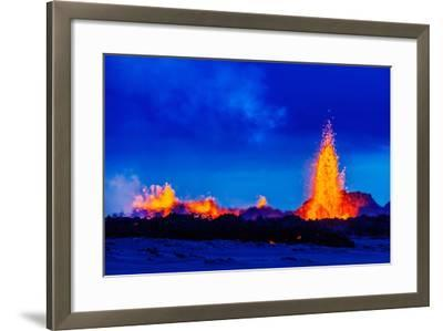 Lava Fountains at the Holuhraun Fissure Eruption Near Bardarbunga Volcano, Iceland--Framed Photographic Print