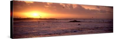Sunrise over the Plouharnel Beach, Morbihan, Brittany, France--Stretched Canvas Print