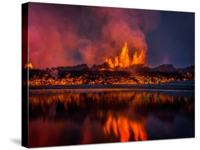Glowing Lava from the Eruption at the Holuhraun Fissure, Near the Bardarbunga Volcano, Iceland--Stretched Canvas Print