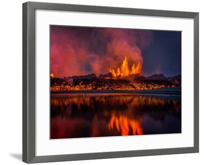 Glowing Lava from the Eruption at the Holuhraun Fissure, Near the Bardarbunga Volcano, Iceland--Framed Photographic Print