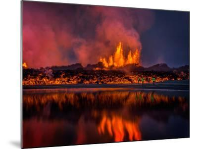 Glowing Lava from the Eruption at the Holuhraun Fissure, Near the Bardarbunga Volcano, Iceland--Mounted Photographic Print