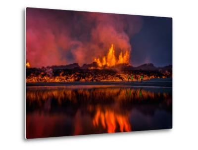 Glowing Lava from the Eruption at the Holuhraun Fissure, Near the Bardarbunga Volcano, Iceland--Metal Print