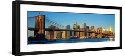 Panoramic View of Brooklyn Bridge and East River at Sunrise with New York City--Framed Photographic Print