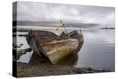 Wrecks of Fishing Boats, Near Salen, Isle of Mull-Gary Cook-Stretched Canvas Print