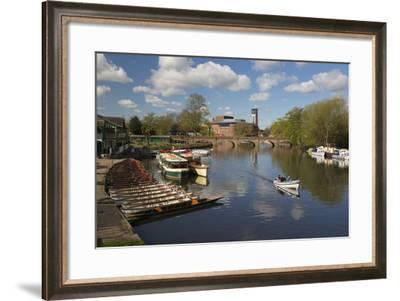 Boats on the River Avon and the Royal Shakespeare Theatre-Stuart Black-Framed Photographic Print