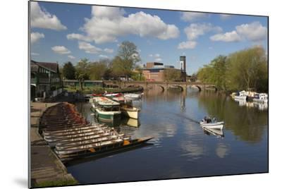 Boats on the River Avon and the Royal Shakespeare Theatre-Stuart Black-Mounted Photographic Print