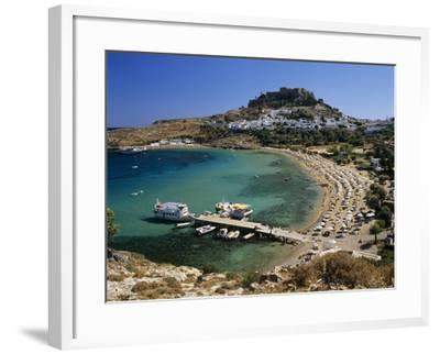 View over Beach and Castle, Lindos, Rhodes Island, Dodecanese Islands, Greek Islands, Greece-Stuart Black-Framed Photographic Print