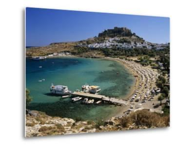 View over Beach and Castle, Lindos, Rhodes Island, Dodecanese Islands, Greek Islands, Greece-Stuart Black-Metal Print