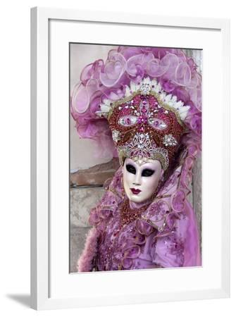 Lady in a Pink Dress and Bejewelled Hat, Venice Carnival, Venice, Veneto, Italy, Europe-James Emmerson-Framed Photographic Print