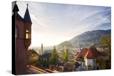 A View over the Misty Old Town of Heidelberg, Baden-Wurttemberg, Germany-Andreas Brandl-Stretched Canvas Print