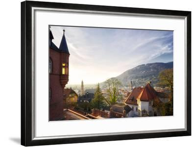 A View over the Misty Old Town of Heidelberg, Baden-Wurttemberg, Germany-Andreas Brandl-Framed Photographic Print