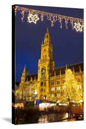 Christmas Market in Marienplatz and the New Town Hall, Munich, Bavaria, Germany, Europe-Miles Ertman-Stretched Canvas Print