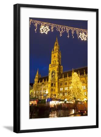 Christmas Market in Marienplatz and the New Town Hall, Munich, Bavaria, Germany, Europe-Miles Ertman-Framed Photographic Print