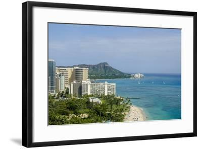 Waikiki Beach and Diamond Head, Waikiki, Honolulu, Oahu, Hawaii, United States of America, Pacific-Michael DeFreitas-Framed Photographic Print