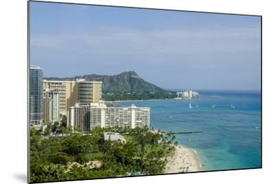Waikiki Beach and Diamond Head, Waikiki, Honolulu, Oahu, Hawaii, United States of America, Pacific-Michael DeFreitas-Mounted Photographic Print