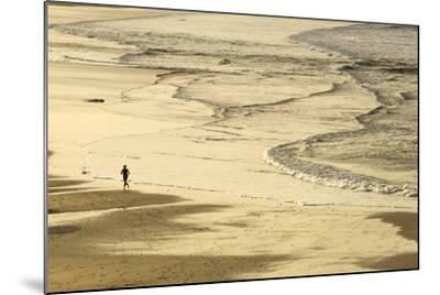 Woman Jogging at Sunrise on Gwithian Beach, Cornwall, England, United Kingdom-Mark Chivers-Mounted Photographic Print