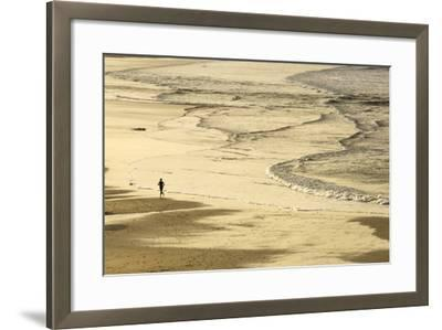 Woman Jogging at Sunrise on Gwithian Beach, Cornwall, England, United Kingdom-Mark Chivers-Framed Photographic Print