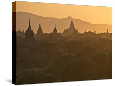 Sunset over the Buddhist Temples of Bagan (Pagan), Myanmar (Burma)-Julio Etchart-Stretched Canvas Print