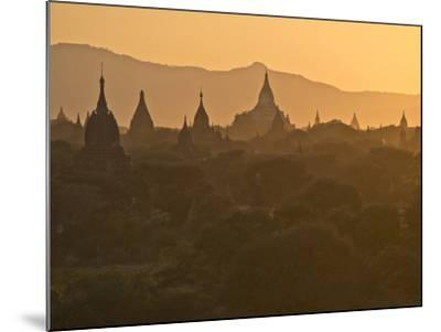 Sunset over the Buddhist Temples of Bagan (Pagan), Myanmar (Burma)-Julio Etchart-Mounted Photographic Print