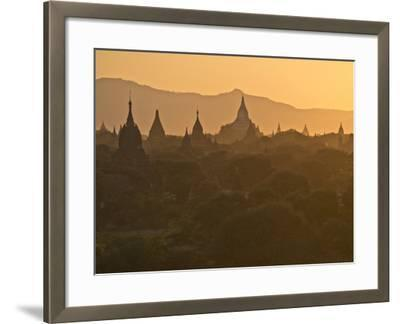 Sunset over the Buddhist Temples of Bagan (Pagan), Myanmar (Burma)-Julio Etchart-Framed Photographic Print