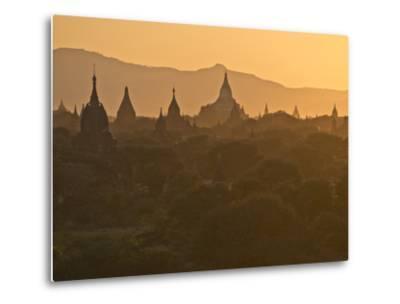 Sunset over the Buddhist Temples of Bagan (Pagan), Myanmar (Burma)-Julio Etchart-Metal Print